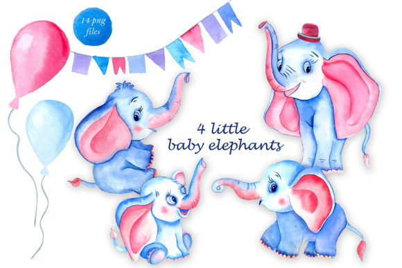 Watercolor Clipart of 4 Cute Elephants Graphic Illustrations By ElenaZlataArt