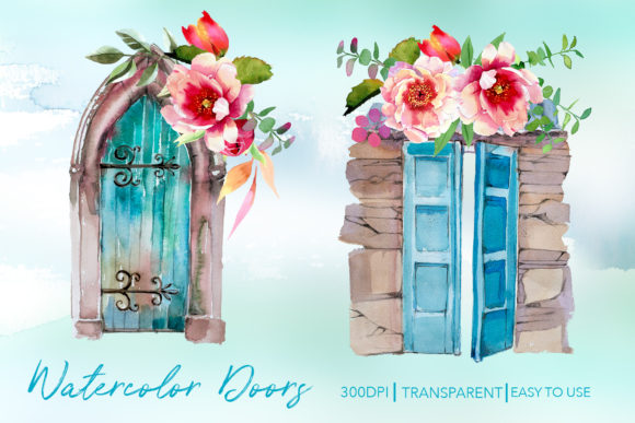 Watercolor Doors Designs Graphic Illustrations By artcreationsdesign