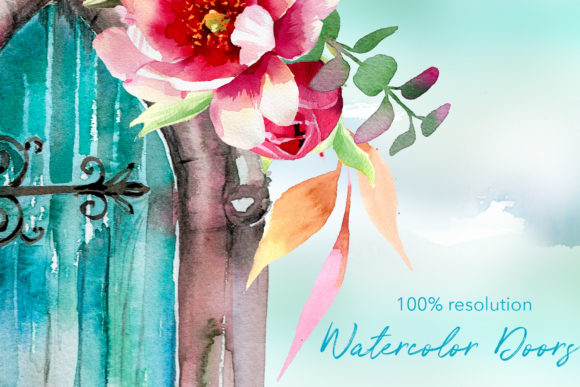Watercolor Doors Designs Graphic Illustrations By artcreationsdesign - Image 2