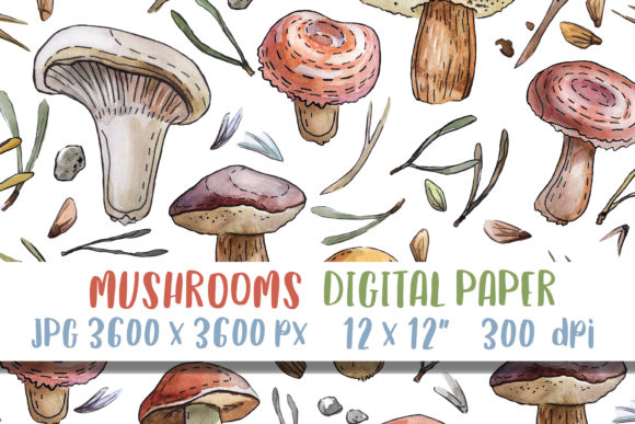 Download Free Watercolor Mushrooms Digital Paper Print Graphic By Greenwolf for Cricut Explore, Silhouette and other cutting machines.