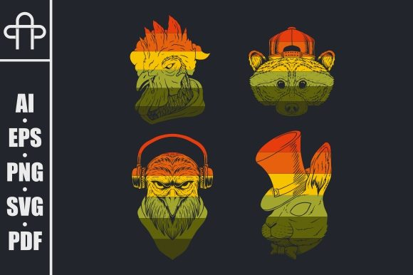 Print on Demand: Animal Retro Vector Illustration Graphic Illustrations By Andypp