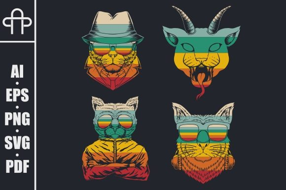 Print on Demand: Cat Collection Retro Vector Illustration Graphic Illustrations By Andypp