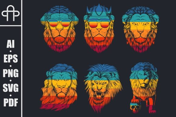 Print on Demand: Lion Collection Retro Graphic Illustrations By Andypp