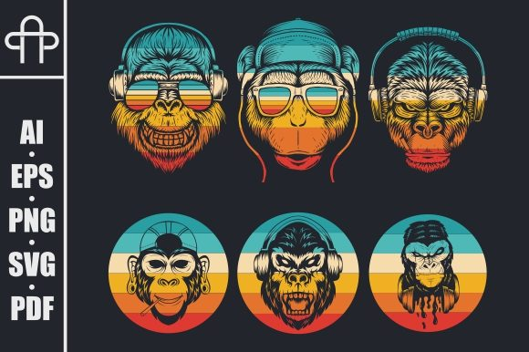 Print on Demand: Monkey Music Collection Retro Graphic Illustrations By Andypp