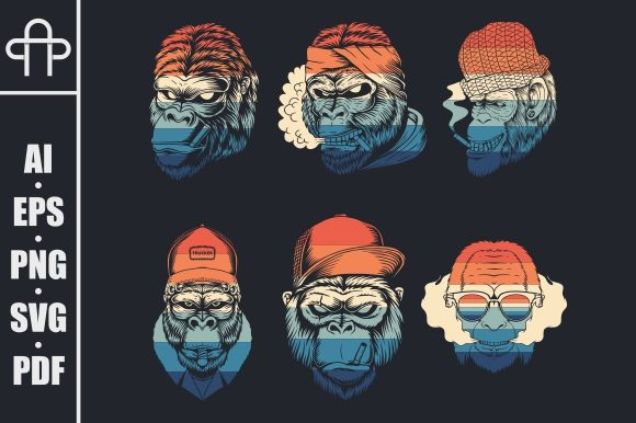 Print on Demand: Monkey Smoke Collection Retro Graphic Illustrations By Andypp