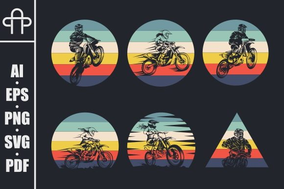 Print on Demand: Motocross Collection Retro Graphic Illustrations By Andypp