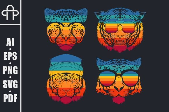 Print on Demand: Predator Cat Collection Retro Graphic Illustrations By Andypp