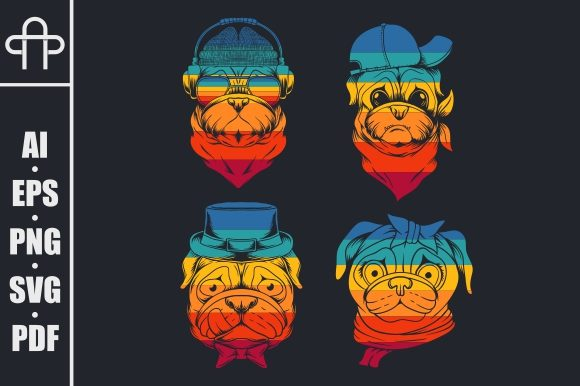 Print on Demand: Pug Dog Head Collection Retro Graphic Illustrations By Andypp