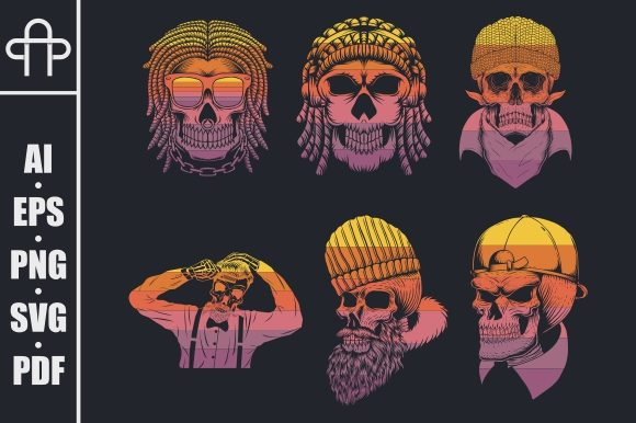 Print on Demand: Skull Collection Retro Vector Graphic Illustrations By Andypp