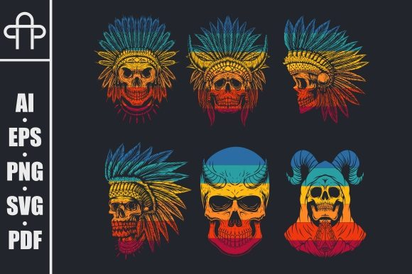 Download Free Skull Head Collection Retro Graphic By Andypp Creative Fabrica for Cricut Explore, Silhouette and other cutting machines.