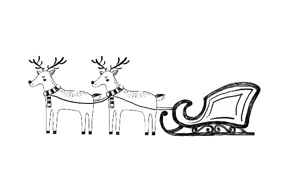 Sleigh with Reindeer Navidad Archivo de Corte Craft Por Creative Fabrica Crafts