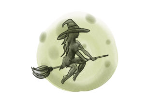 Witch Flying Broom in Front of Full Moon Halloween Craft Cut File By Creative Fabrica Crafts