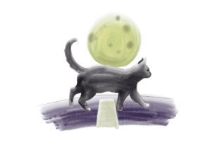 Black Cat Crossing Street with Full Moon Halloween Craft Cut File By Creative Fabrica Crafts