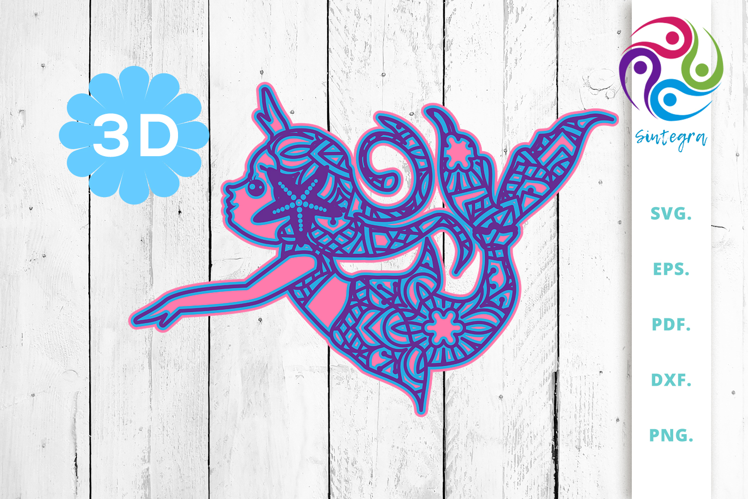 Download Free 3d Multilayer Mermaid Graphic By Sintegra Creative Fabrica for Cricut Explore, Silhouette and other cutting machines.