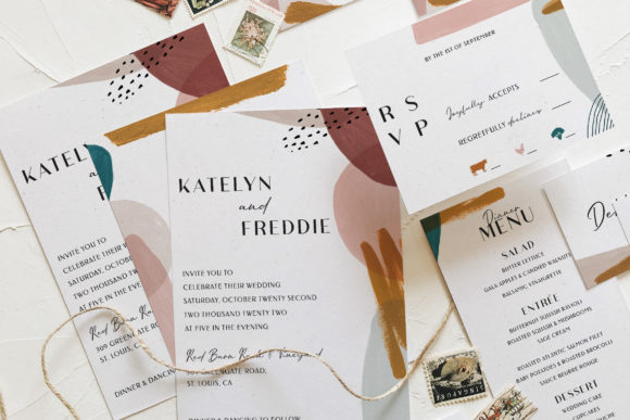 Print on Demand: Abstract Watercolor Wedding Suite Graphic Print Templates By Blue Robin Design Shop