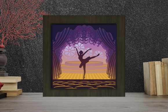 Ballet 1 Square Light Box Shadow Box Grafik 3D Schattenbox von LightBoxGoodMan
