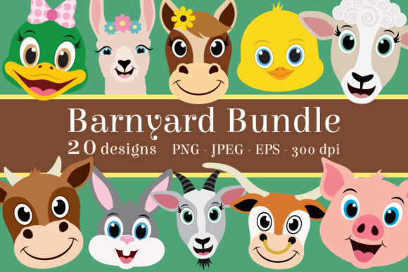 Print on Demand: Barnyard Animal Clipart Bundle Graphic Illustrations By CaptainCreative