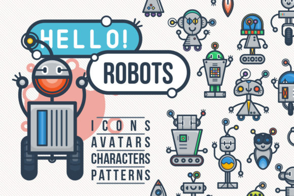 Print on Demand: Big Collection of Vintage Robokids Gráfico Iconos Por Drekhann