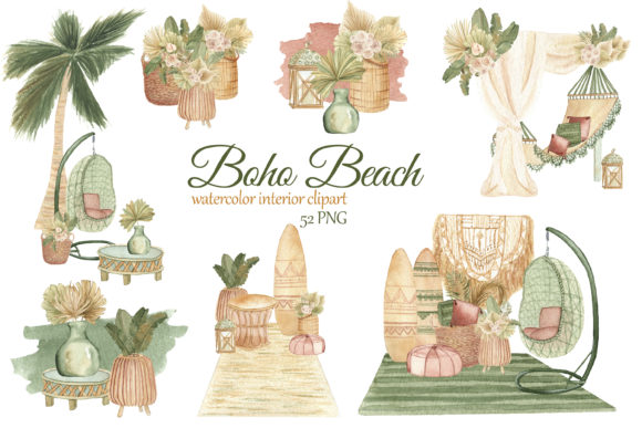 Print on Demand: Boho Beach House Clipart Grafik Illustrationen von s.yanyeva
