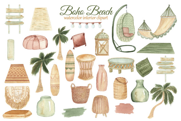 Print on Demand: Boho Beach House Clipart Graphic Illustrations By s.yanyeva - Image 2