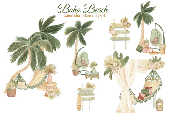 Print on Demand: Boho Beach House Clipart Graphic Illustrations By s.yanyeva - Image 3