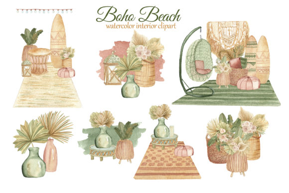 Print on Demand: Boho Beach House Clipart Graphic Illustrations By s.yanyeva - Image 4