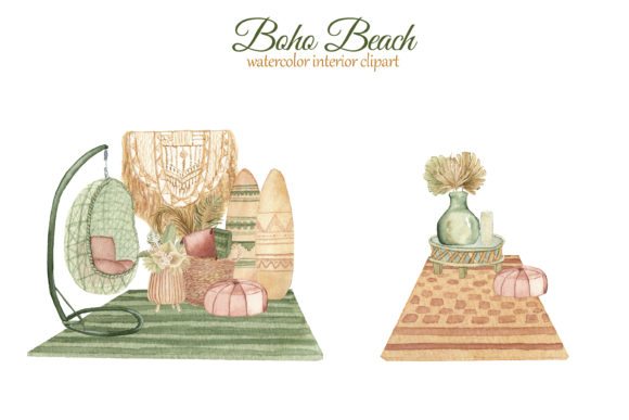 Print on Demand: Boho Beach House Clipart Graphic Illustrations By s.yanyeva - Image 6