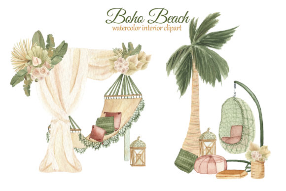 Print on Demand: Boho Beach House Clipart Graphic Illustrations By s.yanyeva - Image 7