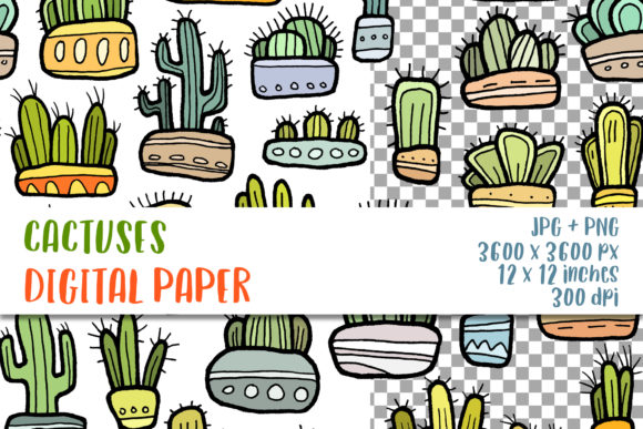 Cactus Digital Paper Seamless Pattern Graphic Backgrounds By GreenWolf Art