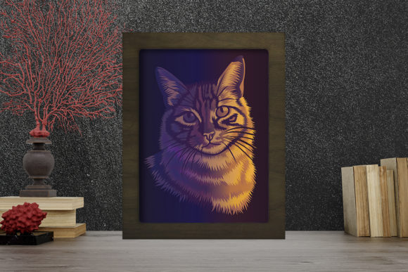 Cat Portraits Light Box Shadow Box Graphic 3D Shadow Box By LightBoxGoodMan