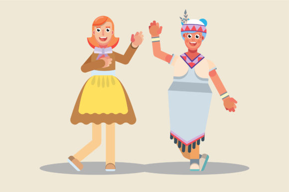 Download Free Characters Of Farm Girl And Native Girl Graphic By Altumfatih for Cricut Explore, Silhouette and other cutting machines.