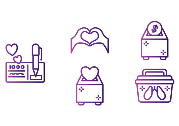 Charity Gradient Graphic Icons By beryladamayu
