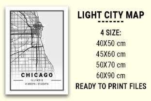 Print on Demand: Chicago Light City Map Graphic Architecture By tienstencil