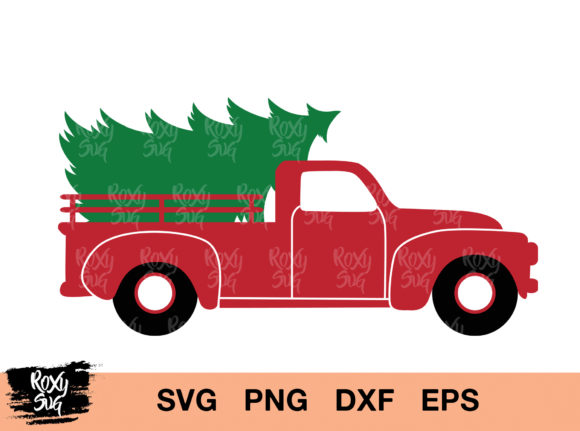 Download Free Christmas Tree Truck Cut Files Graphic By Roxysvg26 Creative for Cricut Explore, Silhouette and other cutting machines.
