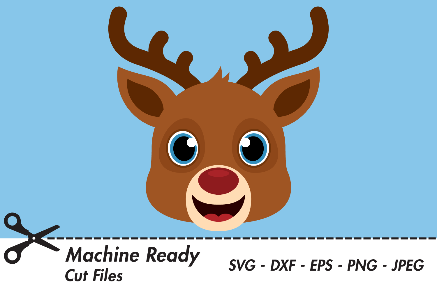 Download Free Cute Boy Reindeer Face Graphic By Captaincreative Creative Fabrica for Cricut Explore, Silhouette and other cutting machines.