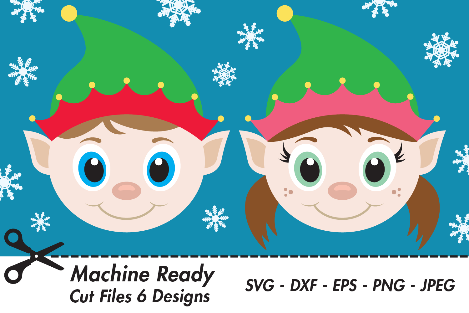 Download Free Cute Elf Faces With Snowflakes Graphic By Captaincreative for Cricut Explore, Silhouette and other cutting machines.