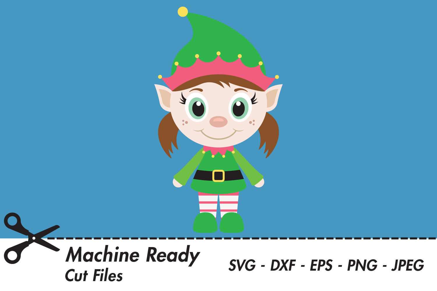Download Free Cute Girl Elf Graphic By Captaincreative Creative Fabrica for Cricut Explore, Silhouette and other cutting machines.