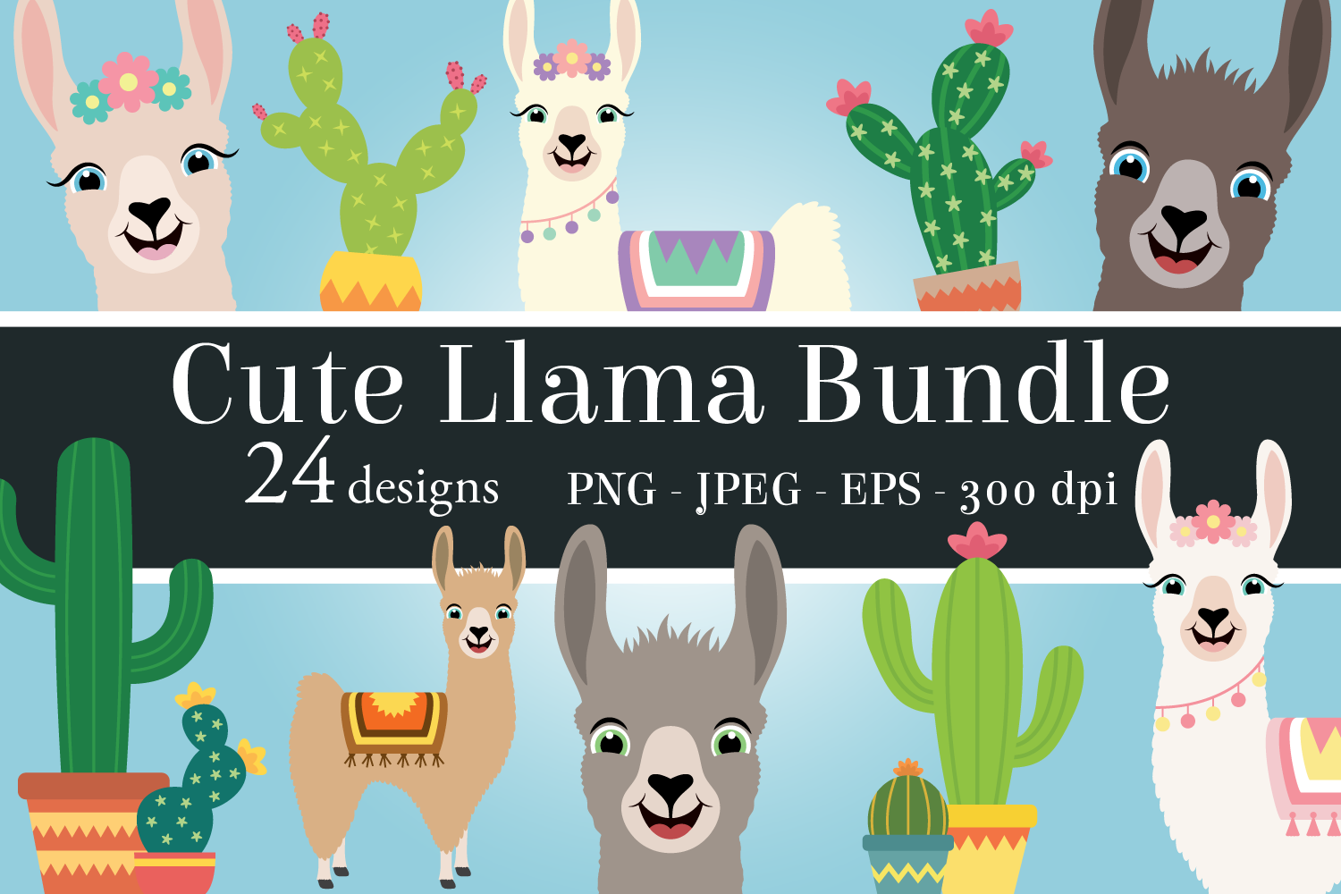 Download Free Cute Llama Clipart Bundle Graphic By Captaincreative Creative for Cricut Explore, Silhouette and other cutting machines.