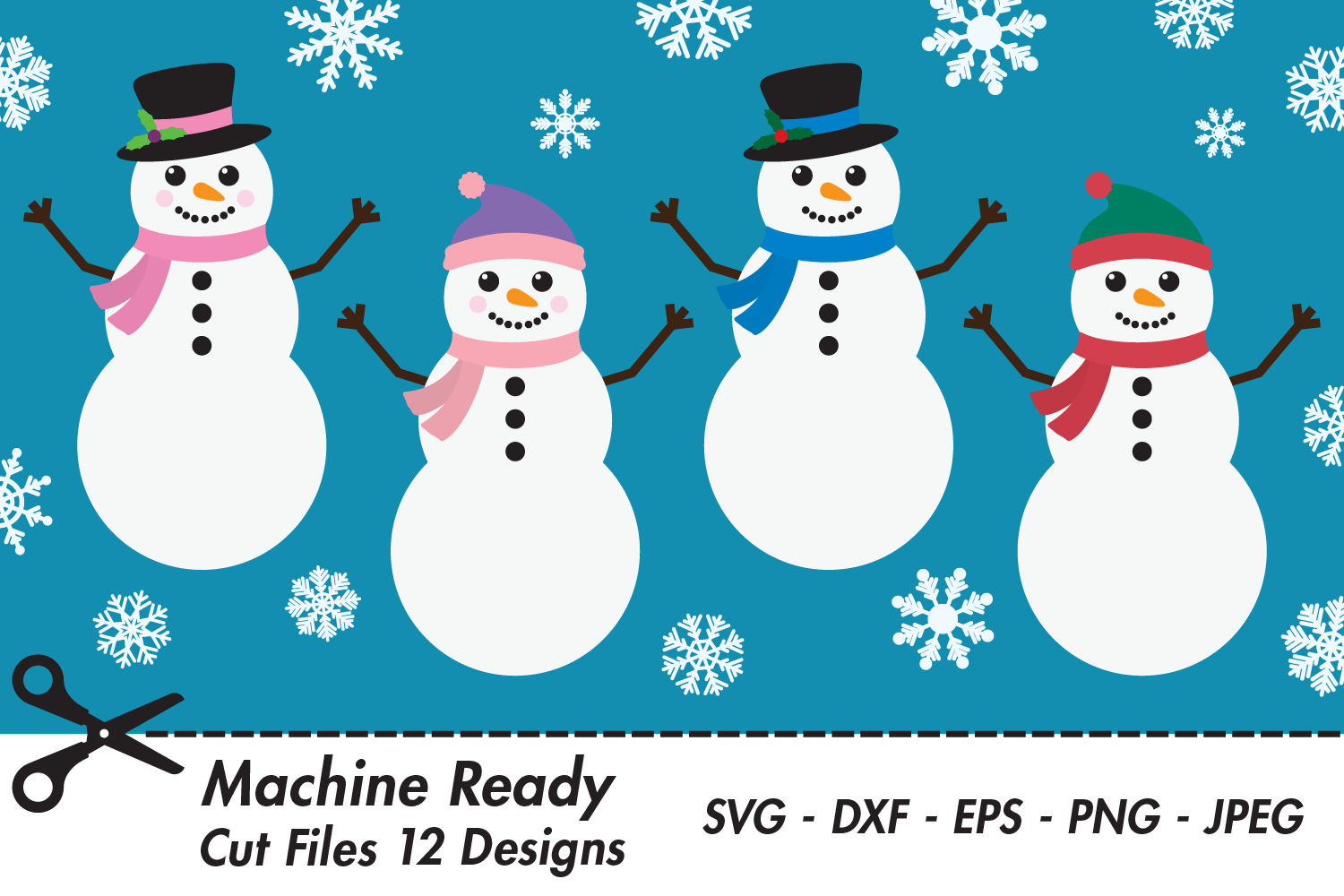 Download Free Cute Snowmen And Snowflake Bundle Graphic By Captaincreative for Cricut Explore, Silhouette and other cutting machines.