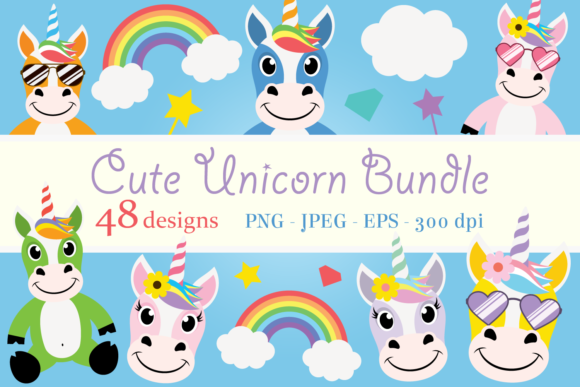 Download Free Cute Unicorn Clipart Bundle Graphic By Captaincreative for Cricut Explore, Silhouette and other cutting machines.