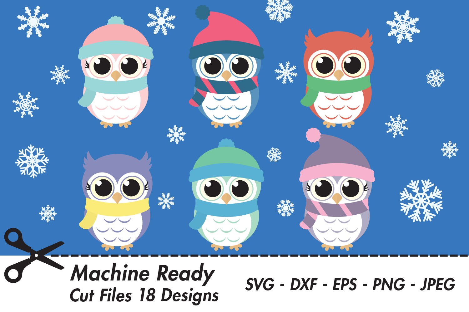 Download Free Cute Winter Owl And Snowflake Bundle Graphic By Captaincreative for Cricut Explore, Silhouette and other cutting machines.