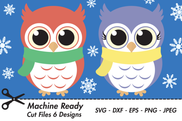 Download Free Cute Winter Owls With Snowflakes Graphic By Captaincreative for Cricut Explore, Silhouette and other cutting machines.