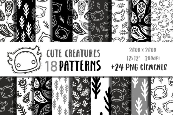 Digital Paper Black and White Pattern Graphic Crafts By GreenWolf Art