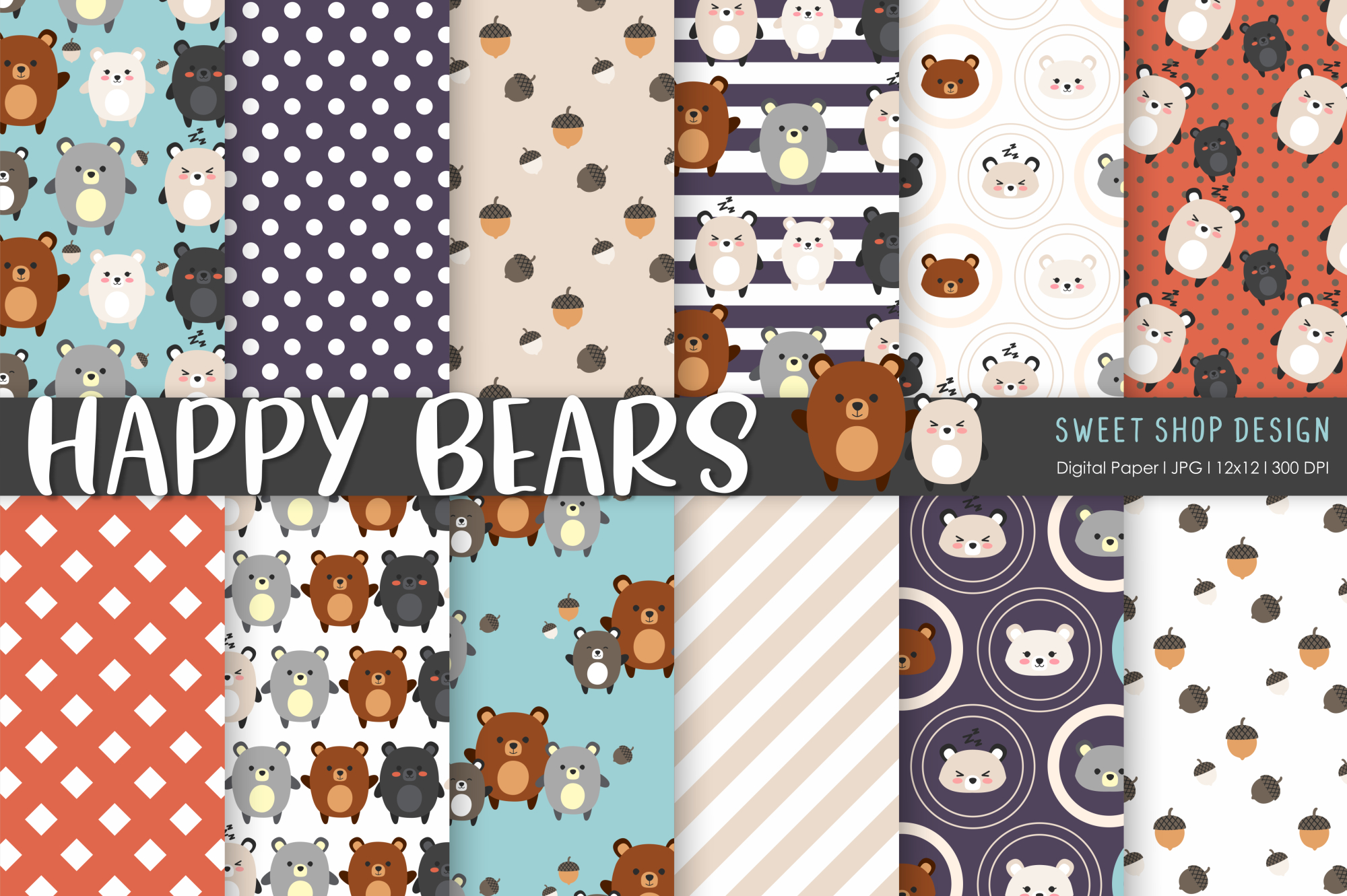 Download Free Digital Paper Happy Bears Graphic By Sweet Shop Design for Cricut Explore, Silhouette and other cutting machines.