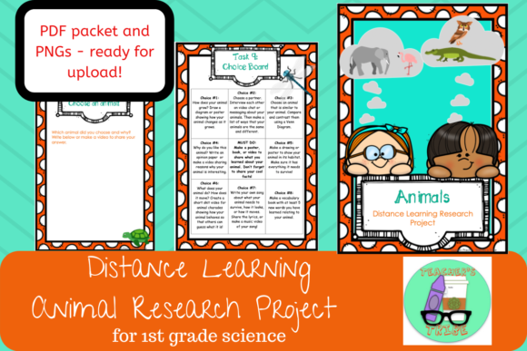 Distance Learning - Animal Research Graphic 1st grade By Teacher's Tribe