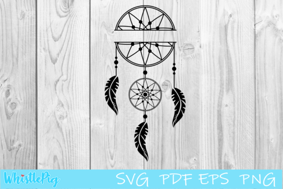 Download Free Dream Catcher Monogram Graphic By Whistlepig Designs Creative for Cricut Explore, Silhouette and other cutting machines.