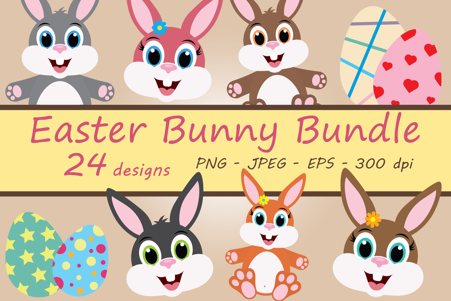 Download Free Easter Bunny Clipart Bundle Graphic By Captaincreative Creative Fabrica for Cricut Explore, Silhouette and other cutting machines.