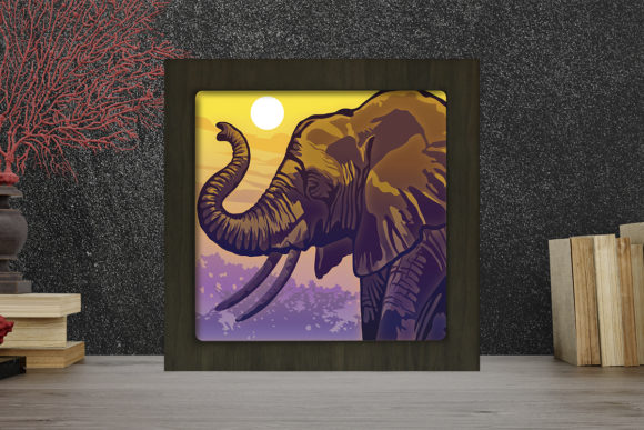 Elephant Portrait Light Box Shadow Box Graphic 3D Shadow Box By LightBoxGoodMan