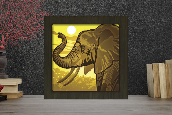Download Free Elephant Portrait Light Box Shadow Box Graphic By for Cricut Explore, Silhouette and other cutting machines.