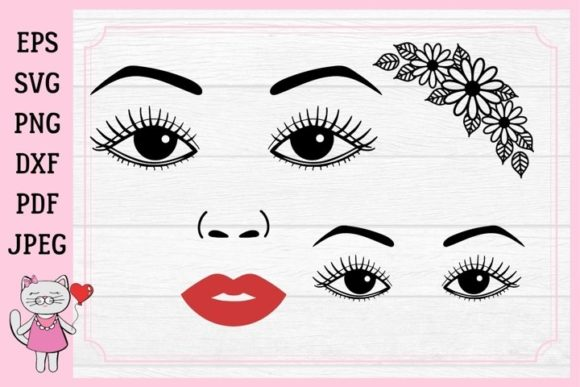 Download Free Eyes Eyelashes Eyebrow Lips Graphic By Magic World Of Design for Cricut Explore, Silhouette and other cutting machines.